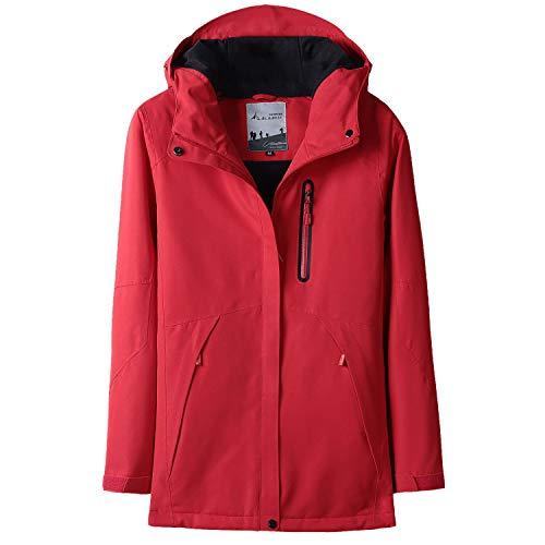 GITVIENAR Damen Beheizte Outdoor Jacke, 3 Temperatureinstellung Modi Ultra Wasserdicht Atmungsaktiv Funktionsjacke 5V sichere Spannung Schnelle Erwärmung Beheizbar Mantel USB-Anschluss Winterjacke