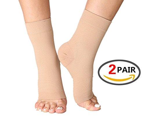 (2Paar) Plantarfasziitis Socken mit Arch Support, Best 24/7Fuß Pflege Kompression Ärmel, besser als Nacht Splint, lindert Schwellungen & Fersensporn, Fußgelenkstütze, Steigert die Durchblutung, lindert Schmerzen Schnell, Beige S/M (Women 2- 5.5 / Men 5.5- 8.0) 2PAIRS (Patent Sandalen Damen Beige)