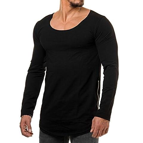 EightyFive Herren Longsleeve Sweatshirt Long Oversized Shirt Rundhalskragen Weiß Anthrazit