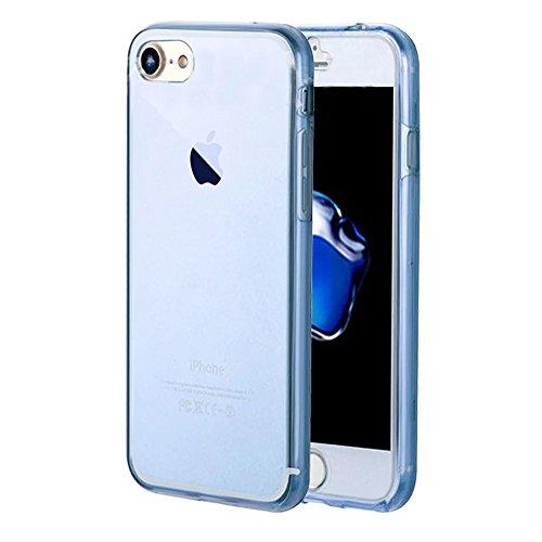 Vandot Luxe Case iPhone 6S Plus Coque arrière en Silicone TPU Cover Transparent avec Bling Diamant Bumper Frame pour iPhone 6 Plus Ultra Fines Paillettes Strass Premium Mat Étui Cristal Case Glitter C Transparent-Bleu