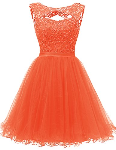 Dresstells Robe de soirée de cocktail Robe de bal courte en tulle dos nu Orange
