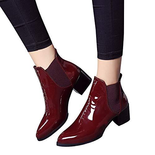 Quaan Mode Winter Frau britisch elastisch Patent Leder Stiefel Spitz Niedrig Hacke Stiefel Sexy Rom Klassisch Einfachheit elegant Retro Abendessen Geschäft weich gemütlich warm beiläufig