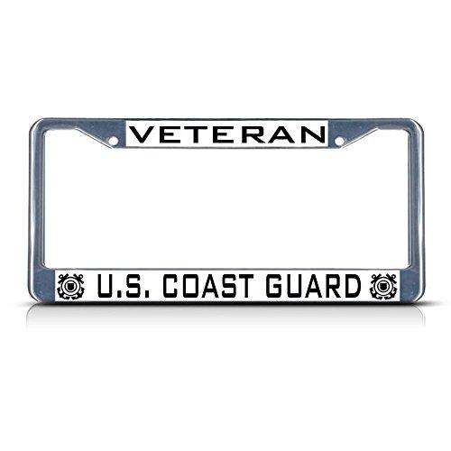 Veteran US Coast Guard Metall-Kennzeichenrahmen mit Zwei Löchern, perfekt für Männer und Frauen, Auto-Garadge Dekor
