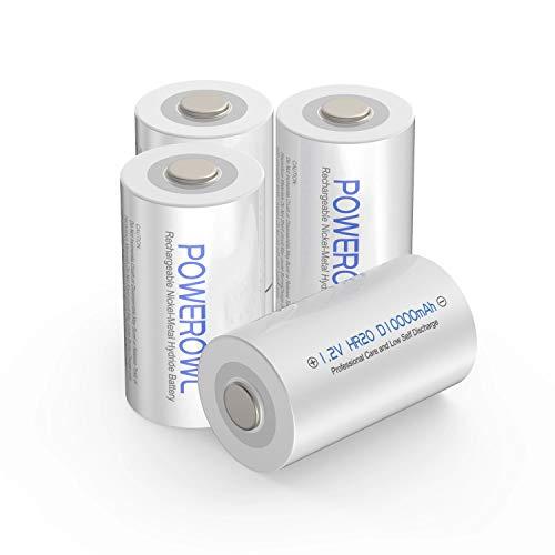 POWEROWL D Akku Batterien 1.2V 10000mAh NI-MH Wiederaufladbar Akkus mit Geringer Selbstentladung & Vorgeladene (4 Stück)