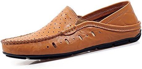 Mocasines para Caminar Zapatos de Cuero Casuales ahuecados hacia Fuera de los Hombres del Verano Zapatos de Barco