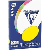 Clairefontaine Trophée - Mini resma de papel, 100 hojas, A4, 21 x 29.7 cm, color amarillo sol