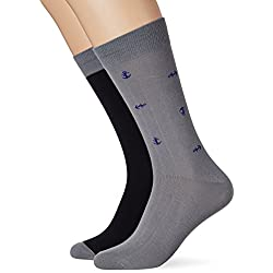 Dockers 2 Pack Anchor Socks, Calcetines para Hombre, Multicolor (Steelhead/Medieval Blue + Black/Grey), Talla única (Talla del fabricante: 1)