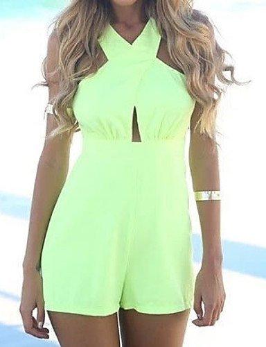 GSP-Combinaisons Aux femmes Sans Manches Sexy Polyester Fin Non Elastique light green-m