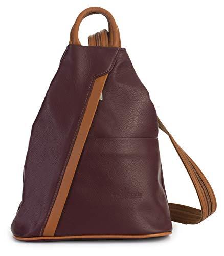 Tan Leder Damen Mini (LIATALIA Unisex Rucksack aus weichem italienischem Leder, wandelbarer Riemen, kleiner Rucksack - Alex, Rot (Burgundy - Tan Trim), Einheitsgröße)