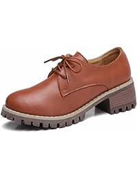 Moonwalker Zapatos con Cordones de Cuero Mujer Oxford con Tacón Ancho