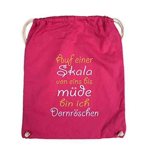 Comedy Bags - Auf einer Skala von eins bis müde bin ich Dornröschen - Turnbeutel - 37x46cm - Farbe: Schwarz / Weiss-Neongrün Pink / Gelb-Weiss