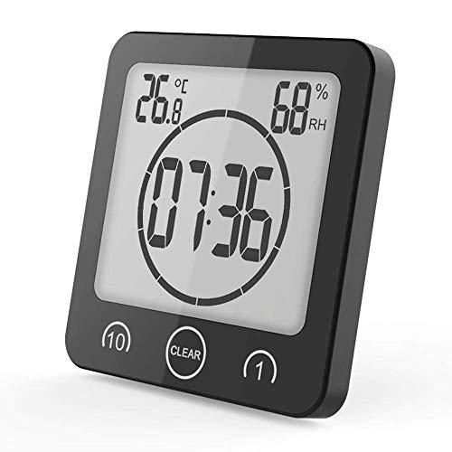 KDJ wasserdichte Digitaluhr, Badezimmer-Dusche-Taktgeber-Timer mit großem LCD-Anzeige, Feuchtigkeits-Temperatur-Anzeige, Wanduhr-Timer für Badezimmer-Duschverfassungs-Kochen (Black)