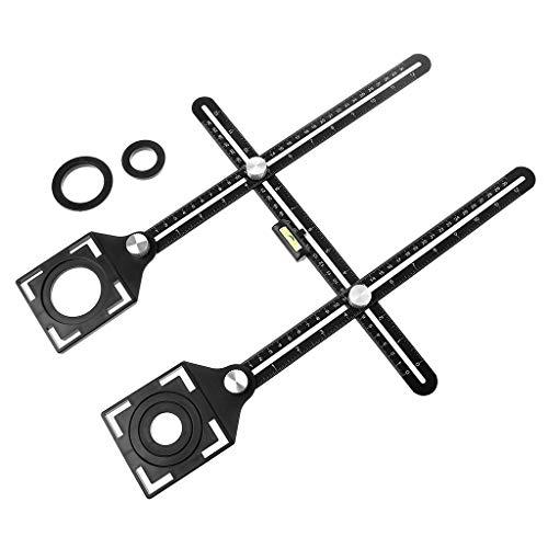 Werst Mehrwinkel-Lineal aus Aluminiumlegierung, 6-fach gefaltet, universal, Trepanning Lination, Fliesen, Glas Stanzwerkzeug (Tür-scharnier Jig)