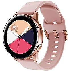 YaYuu Bracelet de Montre pour Samsung Galaxy Watch Active 40mm, 20mm Bande de Remplacement en Silicone Sangle pour Galaxy Watch 42mm/Gear Sport/Gear S2 Classic/Vivoactive 3/Ticwatch 2 Smart Watch