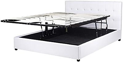 Conforeva Cama con espacio de almacenamiento, 160 x 200 cm, somier abatible, color blanco