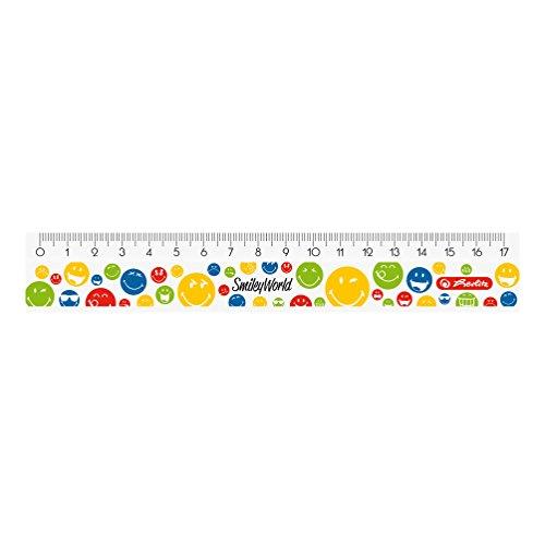 Herlitz 50001965 Lineal Smiley World, 1 Stück in Klarsichtpackung, 17 cm
