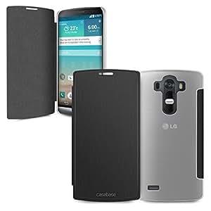 CaseBase® - Housse / Wallet case / Etui avec la coque dorsale Transparente pour LG G4 ** Noir **