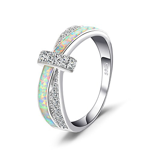 JewelryPalace Mode Erstellt Opal Crossover Band Ring 925 Sterling Silber