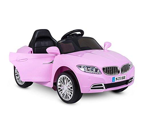 Coche eléctrico para niños Crazy puertas automáticas y 3 velocidades - Rosa