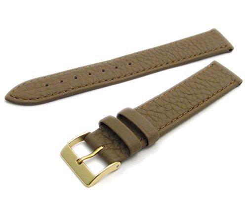 Super Soft Cow Hide Leder Uhrenarmband von Condor taupe 16mm breit vergoldet (Gold Farbe) Schnalle 348r.03