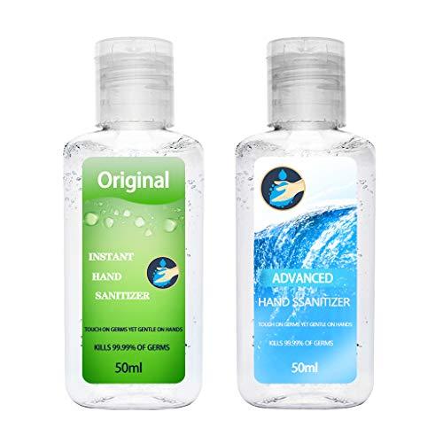 2pc 50ml Sin Lavado Desinfectante Antiséptico para manos Esterilización Jabón Desinfección de Secado Rápido Gel de Lavado de Manos Antivirus Desechable Desinfectante de Manos (Verde y Azul 2pc)