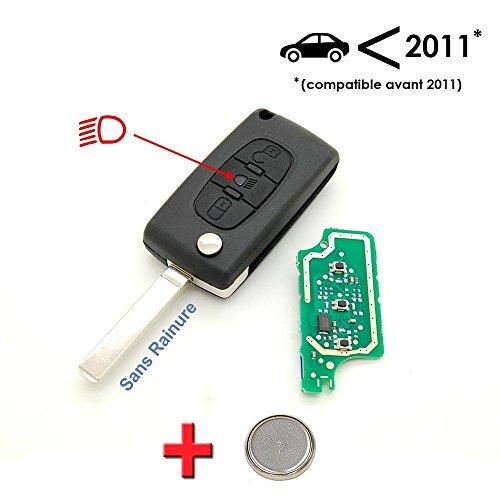 Schlüssel + Elektronische zu programmieren Citroen C4Picasso 3Knopf Leuchtturm ohne Rille -