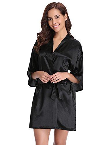 Aibrou Damen Satin Kimono Nachthemd Nachtwäsche Langer Morgenmantel Bademantel Schlafanzug Unterwäsche mit Gürtel Schwarz XL