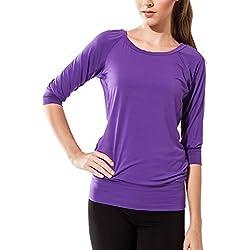 Sternitz Camisa Fitness para Mujer, Ananda, Ideal para Hacer Pilates, Yoga y Cualquier Deporte, Tela de bambú, ecológica y Suave. Cuello Redondo. Manga 3/4. (M, Morado)