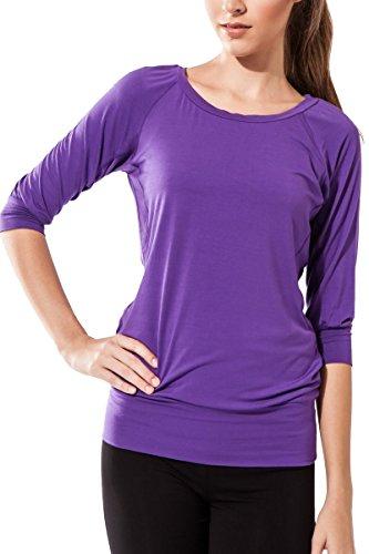 Sternitz Camisa Fitness para mujer, Ananda, ideal para hacer pilates, yoga y cualquier deporte, tela de bambú, ecológica y suave. Cuello redondo. Manga 3/4. (L, Morado)