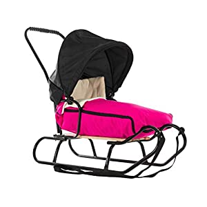 123home24.com Solid Schlitten mit Schlafsack und Visier Holzschlitten mit Rückenlehne und Zugseil Schlitten aus Holz Kinderschlitten