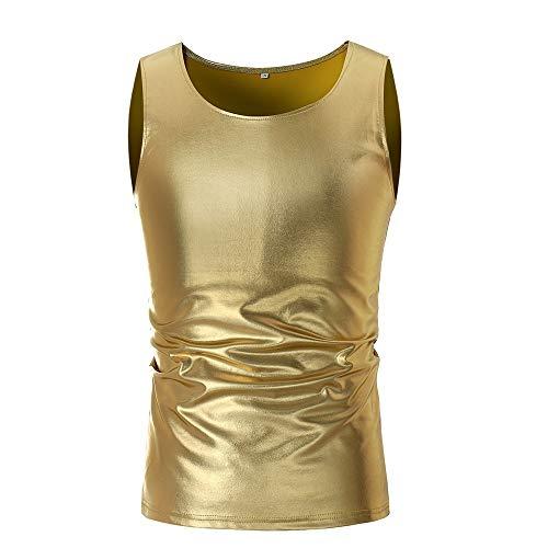 MOIKA Herren Tank Top, Muskelshirt Tankshirt T-Shirt Unterhemden Tanzweste-Herren Casual Ärmelloses T-Shirt Top Weste Bluse Gold Tank