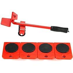 Houkiper Heavy Duty Furniture Set Set, 5 PCS Mobilier Kit Kit Économie de Main-d'œuvre Chariot à Chariot élévateur Mover Meubles Rouleau Move Tools (Red)