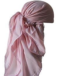 Foulards Carrés Avec des Bords de Fleurs (1mx1m) pour Perte de Cheveux, Cancer, Chimio