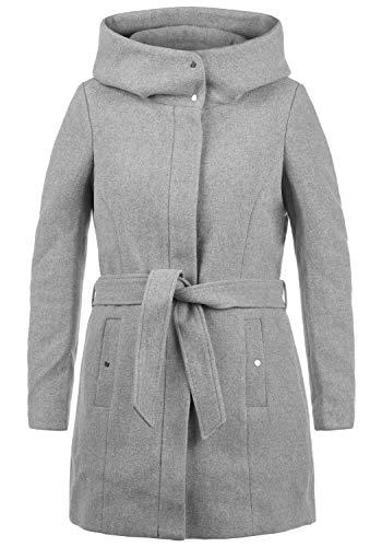 VERO MODA Wollni Damen Wollmantel Winterjacke Mantel Mit Kapuze Und Gürtel, Größe:S, Farbe:Light Grey Melange