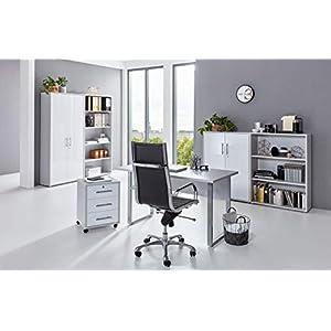 BMG-Moebel.de Büromöbel komplett Set Arbeitszimmer Office Edition Mini in Lichtgrau/Weiß Hochglanz (Set 1)