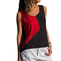 Comaba Women Hit Color Blouse Patchwork Crew-Neck Summer Vest Tank Top Shirt Red XL