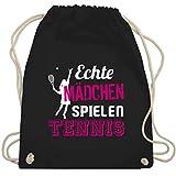 Tennis - Echte Mädchen spielen Tennis - Unisize - Schwarz - WM110 - Turnbeutel & Gym Bag