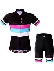 Skysper Tour de France Vélo Maillot Cyclisme Set à Manches Courtes et Cuissard avec 3D Gel Silicone Rembourrée pour femme
