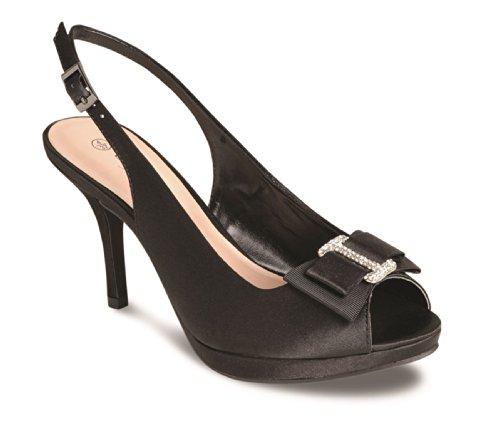 BOUTIQUE FANTASIA® donna Peep Toe e cinturino alla caviglia, accento Diamante, con fiocco, tacco-Pochette da donna Nero (nero)
