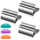 WXJ13 3 Pieces Metal Toothpaste Tube Squeezer, Stainless Steel Toothpaste Squeezer Rollers, Toothpaste Seat Holder Stand Saves Toothpaste, Creams & More for Bathroom