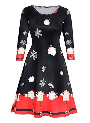 Avacoo Damen Kleid Weihnachten Langarm Weihnachtskleid Festlich Partykleid Weihnacht Schnee X-Large 42