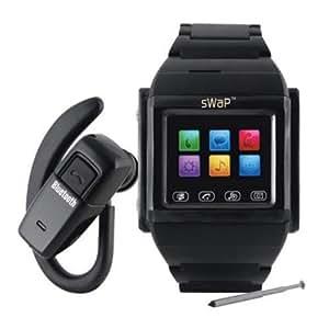 sWaP Classic Stainless Steel Sim Free Mobile Phone Watch - Black