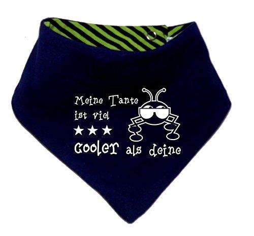 Kinder Wendehalstuch uni/gestreift (Farbe navy-lime) (Gr. 1 (0-74)) Meine Tante ist cooler als deine /FAT