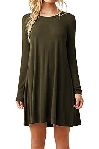 YMING Femme Tunique Longues Manches Robe en vrac Col Rond Chemise Mini Robe Grande Taille,Armée Vert,XXXXL