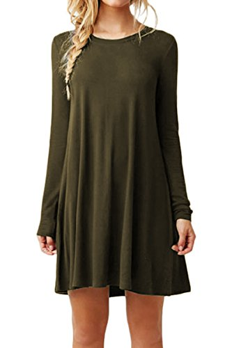 YMING Damen Lockeres Kleid Lose Blusenkeid Langarm Lange Shirt Casual Strickkleid,Armee Grün,L