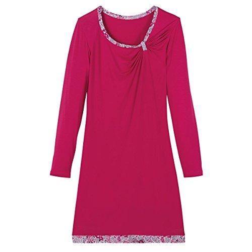 Pomm'poire - Chemise de nuit framboise/ivoire Paradise - Femme Rose