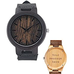 Modern Men Custom Personalised Engraved Hand Made Wooden Wristwatch with Leather Strap, Natural Bamboo Wood Watch Gift for Groomsmen