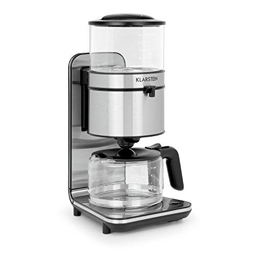 Design Kaffeemaschine (Klarstein Soulmate • Kaffeemaschine • Filter-Kaffeemaschine • 1800 Watt • 1,25 Liter Fassungsvermögen • 4 bis 10 Tassen • Schwallbrühverfahren • Warmhalteplatte mit Auto-Abschaltung • herausnehmbarer Filterbehälter • Glas • Edelstahl • rutschfeste Gummifüße)