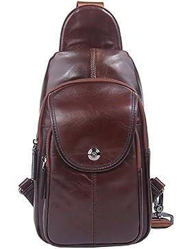 Everdoss Bauchtaschen Kleine Brusttasche Herren Business echt Leder Schultertasche Cross Body Messenger Bag mit...