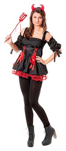 r-dessous sexy 4tlg Damen Teufel Kostüm Teufelin Devil Gothic Halloween Karneval Fasching Party Diavolo Kleid Groesse: L/XL